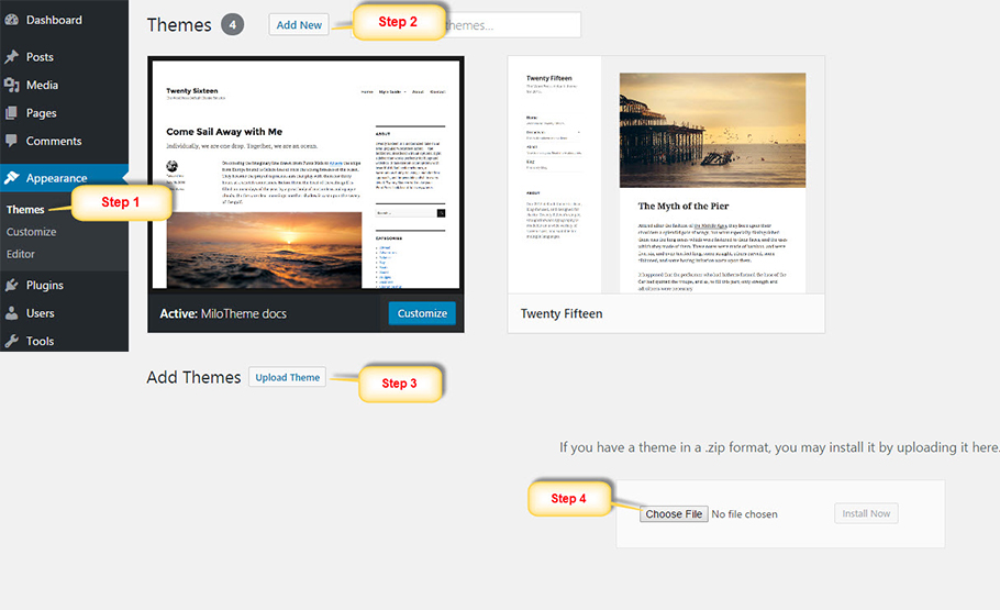 install-theme-wordpress
